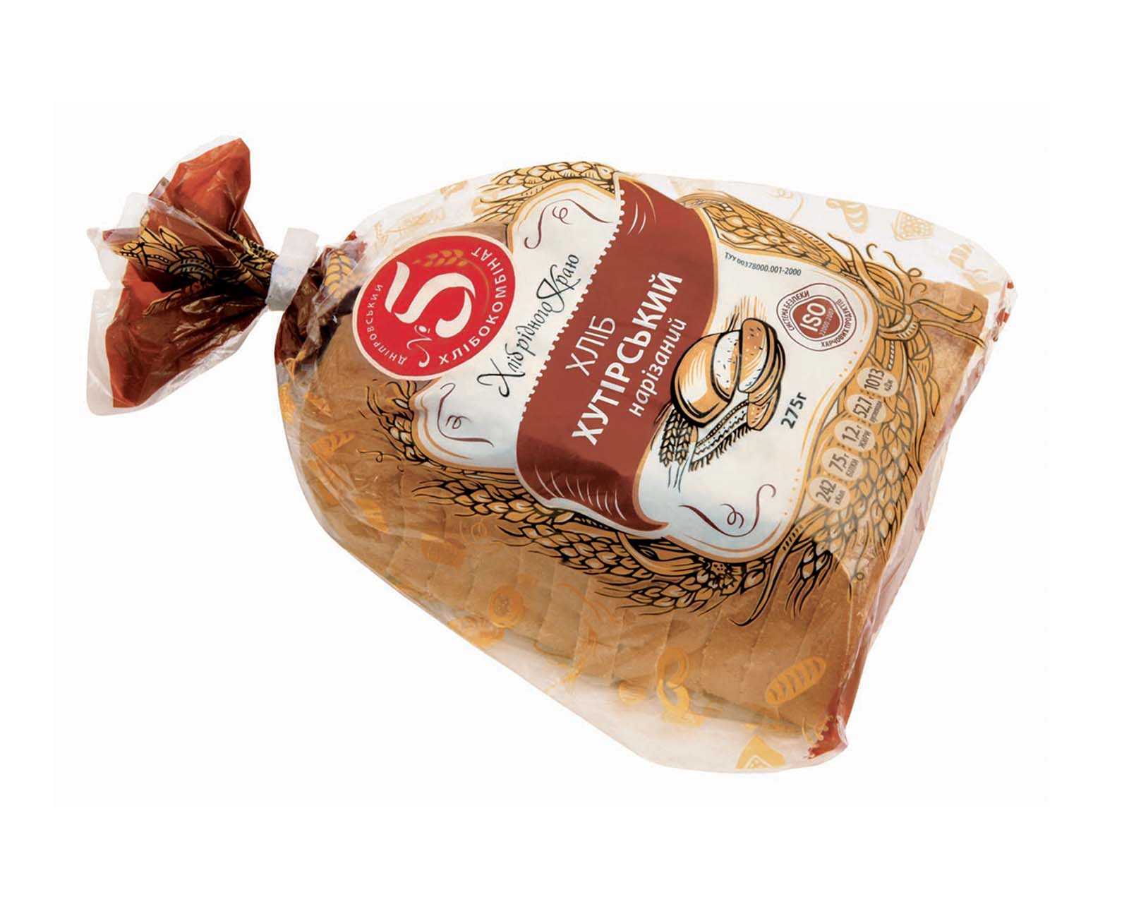 """""""Хліб Хутірський"""" половинка нарізаний в упаковці"""